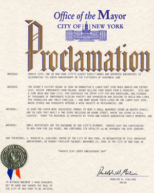 Harris Levy 100 Year NYC Proclamation from Mayor Guliani